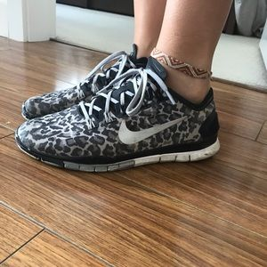 Leopard print Nike running shoes